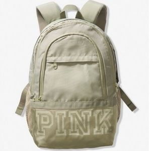 Pink VS Logo Collegiate Green Backpack